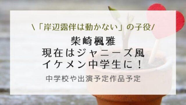 柴崎楓雅の現在はジャニーズ風のイケメン中学生!中学校や出演予定作品予定も調査!