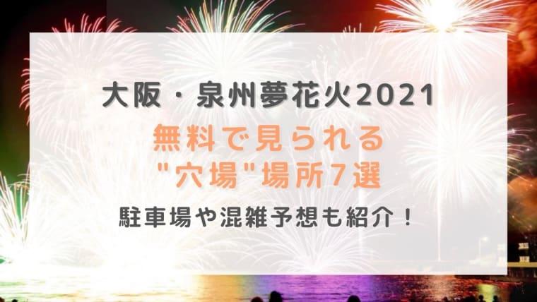 泉州夢花火2021無料で見られる穴場場所7選!駐車場や混雑予想も紹介!